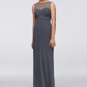 Davids Bridal Long Mesh Dress w/ Illusion Neckline
